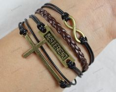 Friend bracelets bronze infinite cross by lifesunshine on Etsy, $6.99