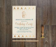 Tribal TEEPEE Invitation Printable Birthday  Baby by tranquillina