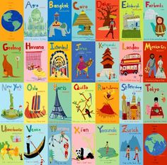 A-Z World, so cute for a travel themed nursery!  Maybe vintage it up a bit?