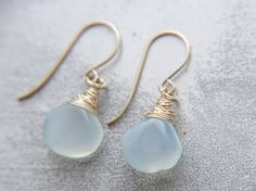 Small Sea Glass Aqua Chalcedony Gold Filled Earrings Wire