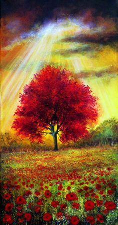Dedicate by AnnMarieBone on deviantART ~ red leaved tree ~ poppy field ~ sun rays ~ summer ~ acrylic