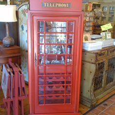 Telephone Booth Wine Cabinet