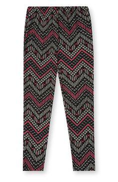 Schwarz-pinke Leggings mit Aztekenmuster