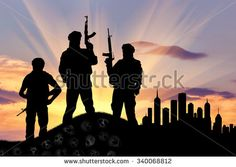 Concept of terrorism. Silhouette of terrorists with a rifle standing on a pile of skulls on the background of evening city - stock photo