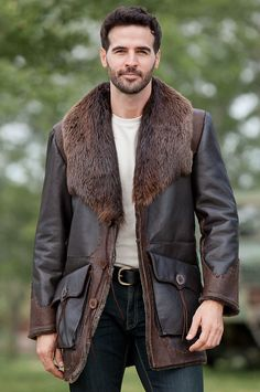 Jasper Shearling Sheepskin Coat with Beaver Fur Collar by Overland Sheepskin Co. (style 29255)