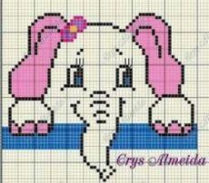 Elephant Cross Stitch, Cross Stitch Baby, Cross Stitch Animals, Cross Stitch Charts, Pixel Crochet Blanket, Bobble Crochet, Crochet Blanket Patterns, Baby Boy Knitting Patterns, Knitting Machine Patterns