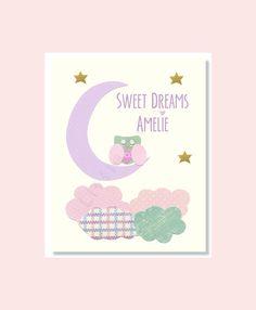 Baby Girl Nursery Prints, Purple Aqua Nursery, Owl, Sweet Dreams, Pink Purple Nursery Wall Decor by LittleMonde