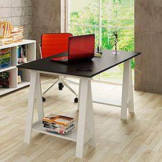 Mesa Escrivaninha Cavalete Branco com Tampo Preto em MDF