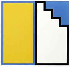 Juhana Blomstedt: Keltainen ovi ja portaat, 1996, serigrafia, 12,5x13 cm - Galleria Bronda 2016