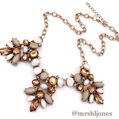 """Crystal & Stone Gold Tone Statement Necklace Beautiful crystal and stone gold tone statement necklace. Neutral, tans, and golds. Hangs 7"""" with a 2"""" extender. Lobster clasp. Brand new with tags. Zinc alloy metal.  ❌ NO TRADES ❌ NO LOWBALLING ❌ Boutique Jewelry Necklaces"""
