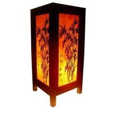 This Asian lamp features an oriental design and was made in Thailand and works well with just about any home decoration style. Made from wood and saa paper, this lamp produces a nice soft glow using a three to five watt light bulb.