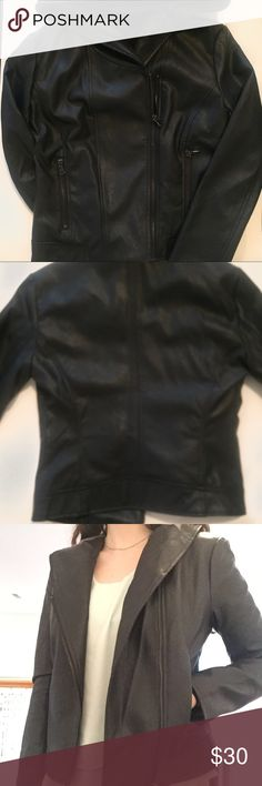 Forever 21 leather jacket It isn't real leather but super cute over any top. It is a size small but works as a medium. Has pockets and a hood. If you have any questions feel free to ask! Forever 21 Jackets & Coats