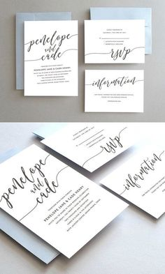 Classic Wedding Invitation Suite // Modern Wedding Invitations // Unique Wedding PDFs // Simple Elegant Script Wedding Stationery Printable Cards // Design by Oakhouse on Etsy
