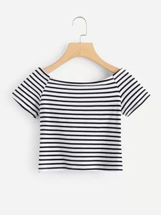 Boat Neck Striped Crop Tee