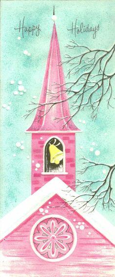 Vintage Christmas Card, Pink Church, Happy Holidays  #christmas #church #pastel #pink #card #illustration #shabby #chic | http://my-christmas-decor-styles.13faqs.com