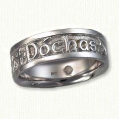 "Gaelic Designed Wedding Band -""My Heart Forever"""