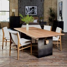 Small Furniture, Furniture Sale, Outdoor Furniture Sets, Modern Rustic Dining Table, Dining Table Chairs, Dining Rooms, Contemporary Dining Chairs, Oak Table Top, Burke Decor