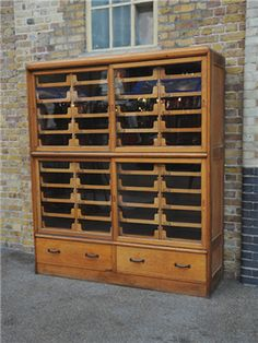 vintage haberdashery cabinet,i NEED one! Scarf Storage, Woodworking Inspiration, Antique Cabinets, Vintage Storage, Haberdashery, Upcycled Furniture, Storage Cabinets, Vintage Wood, Filing Cabinet