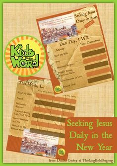 Seeking Jesus Daily in the New Year with a free printable. A great way to refocus in 2015 and study God's word. Kidsinthe word.net