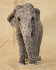 Daisy the Asian Elephant: needle felted animal sculpture by The Woolen Wagon
