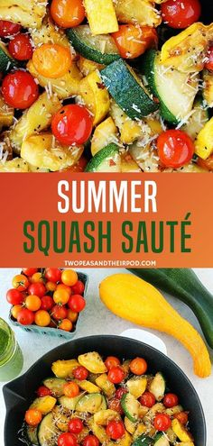 A summer squash recipe with easy to make steps is made with tomatoes, garlic, and parmesan cheese! It is the perfect sauted side dish that goes great with any meal! Plus, it only takes a few minutes to make it! Save this pin for later! Healthy Side Dishes, Veggie Dishes, Side Dish Recipes, Veggie Recipes, Food Dishes, Vegetarian Recipes, Dinner Recipes, Healthy Recipes, Summer Vegetable Recipes