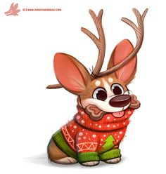Daily Paint #1129. Christmas Eve...have a puppy! by Cryptid-Creations.deviantart.com on @DeviantArt