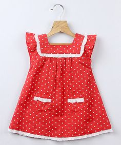 Loving this Red Polka Dot Lace Dress - Infant, Toddler & Girls on #zulily! #zulilyfinds