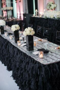 Luxurious and glamourous black wedding table setting, black wedding decor, black head table, place settings LUXURIOUS BLACK & WHITE WEDDING IN TORONTO www.elegantwedding.ca