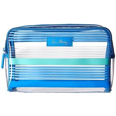 Vera Bradley Luggage Lighten Up Clear Cosmetic (Blue Tonal Stripe)... ($34) ❤ liked on Polyvore featuring beauty products, beauty accessories, bags & cases, makeup bag case, cosmetic bags, make up purse, cosmetic purse and purse makeup bag