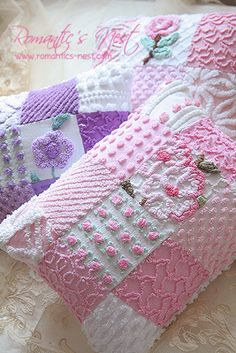 patchwork chenille pillows