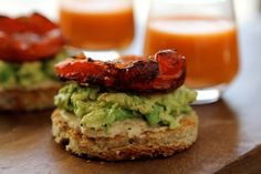 hummus and avocado toasts with roasted tomatoes  This looks SO yummy!