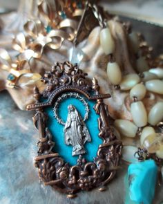 A SHRINE for MARY vintage assemblage necklace by The French Circus, $165.00