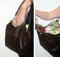 Arya aus braunem Kunstleder mit buntem Deckel- Die Tasche für Paris wurde  im Leipziger Workshop 2014 genäht