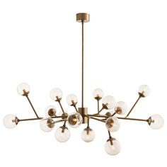 3360- Dallas Chandelier features an 18-light cluster with 12 adjustable arms in a Brown Nickel or Vintage Brass finish. Eighteen 25 watt, 120 volt B10 type candelabra base incandescent bulbs are required, but not included. UL listed. Suitable for damp locations. 58 inch width x 18.5 inch height x 50.5 inch maximum length.
