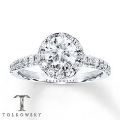 Tolkowsky Engagement Ring 1 3/8 cts tw Round-cut 14K White Gold