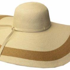 bd1571a1fae52c Sakkas 5311LF Women's Contrast Stripe UPF 50+ Extra Wide Floppy Brim Straw  Hat - Natural - One Size