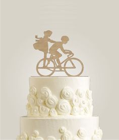 Bicycle Wedding Cake Topper Rustic Cake Topper by LaserDesignShop Rustic Wedding Cake Toppers, Wedding Cake Decorations, Unique Wedding Cakes, Beautiful Wedding Cakes, Deer Wedding, Wedding Ideas, Wedding Reception, Wedding Stuff, Table Wedding