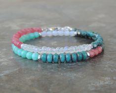 Ocean Jewelry - Beach Bracelet - Amazonite Bracelet - Rainbow Moonstone Bracelet for Women - Seafoam Green Gemstone - Wrap Bracelet for Her by lelizabethjewelry on Etsy https://www.etsy.com/listing/577487770/ocean-jewelry-beach-bracelet-amazonite