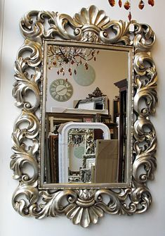 baroque mirror with silver frame beautiful design
