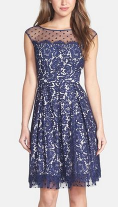 navy, lace, floral, dots -  a mix of so many fun things. And a great shape to boot!