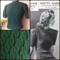 Jumper knitted from and original 1940s knitting pattern. Bestway 1977.