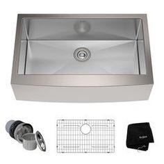 "33"" Farmhouse Single Bowl Kitchen Sink-Stainless Steel Kitchen Sink Strainer, Single Bowl Kitchen Sink, Farmhouse Sink Kitchen, New Kitchen, Kitchen Decor, Farmhouse Style, Kitchen Sinks, Kitchen Cabinets, Bowl Sink"