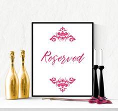 Reserved Wedding Sign Pink Yarrow | https://www.vivabop.co.uk/products/elegant-reserved-wedding-sign-printable-pink-yarrow