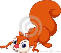 Cute squirrel cartoon with a white background