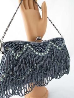 a9bf360794e1 Vintage Style Gunmetal Gray Beaded Fringe Evening Bag