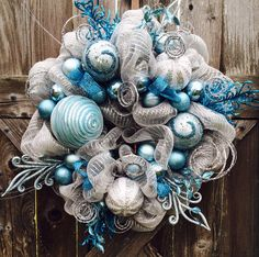 Deco Mesh Christmas Wreath Breathtaking Winter by BaBamWreaths Teal Christmas, Christmas Mesh Wreaths, Christmas Crafts, Christmas Ornaments, Winter Wreaths, Christmas Door, Mesh Ribbon Wreaths, Deco Mesh Wreaths, Wreath Crafts