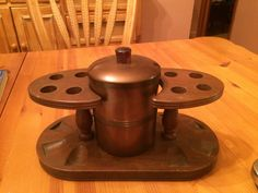 Vintage Mid Century Copper Humidor Wood Pipe Rack Holds 8 Pipes