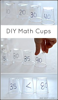 DIY math cups for practicing skip counting and other elementary math concepts from And Next Comes L
