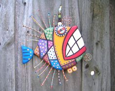 Mosaic Fish, MADE to ORDER, Original Found Object Sculpture, Wall Art, Wood Carving, Wall Decor, by Fig Jam Studio