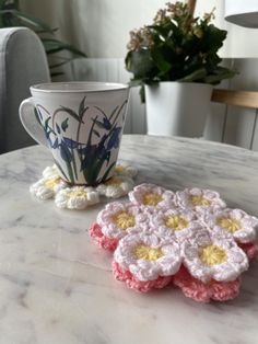 Crocheted Flower pattern Coasters A set of three   Etsy Crochet Flower Patterns, Crochet Flowers, Spring Flowers, Decorative Bowls, Coasters, Friends, Pink, Color, Etsy